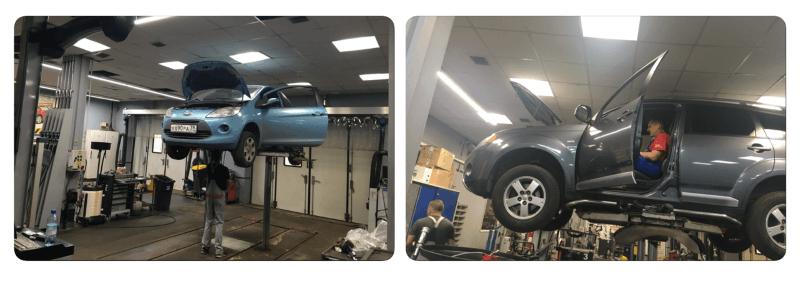 Осмотр подвески автомобиля в ремонтной зоне Автосервиса в САО